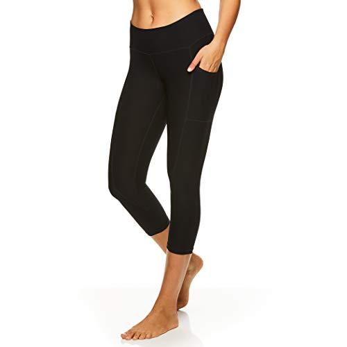 Reebok Women's Printed Capri Leggings with Mid-Rise Waist Cropped Performance Compression Tights - Black Night Quick Capri, Large