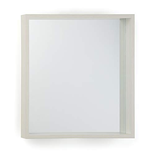 Simpli Home AXCMAR-2525WW Armand 25 inch x 25 inch Square Transitional Décor Mirror in White Wash Stain