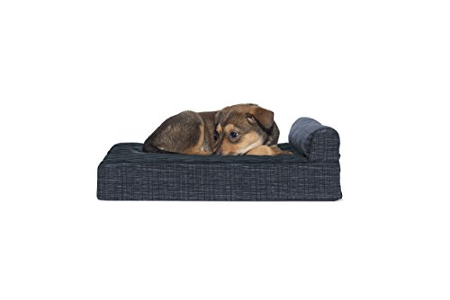 FurHaven Pet Dog Bed | Memory Foam Suede Chaise Quilted Fleece & Print Suede Lounge Pet Bed for Dogs & Cats, Dark Blue, Small ()