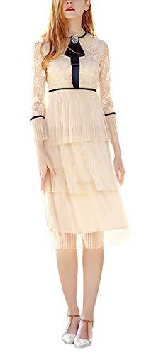 De Encaje Fiesta Splice Moda Invierno Noche Apricot Coctel Manga Cuello Otoño Vestido Mujer Larga Elegante Festivo Vestidos Hermoso Tul Stand Vintage d8wIIp