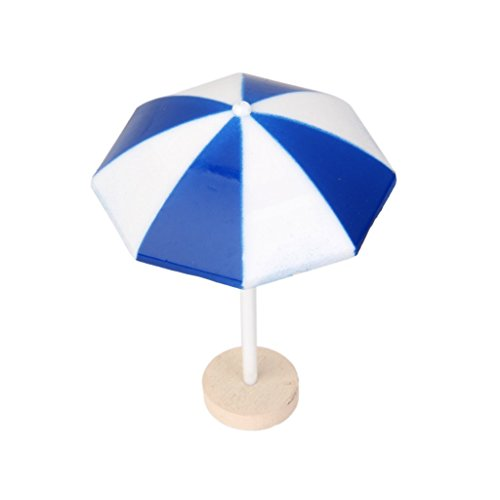 Tinksky Beach Sun Umbrella Miniature Landscape Bonsai Dollhouse Garden DIY Decor (Blue)