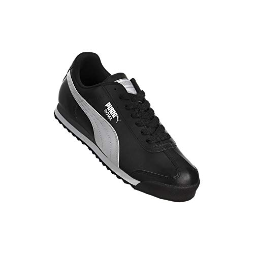 PUMA Men's Roma Basic Fashion Sneaker, Black/White/Silver - 10 D(M) US