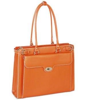 [McKleinUSA WINNETKA 94830 Orange Leather Ladies' Briefcase w/ Removable Sleeve] (Italian Leather Ladies Briefcases)