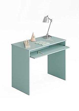 SUENOSZZZ - Mesa de Escritorio para Ordenador y Estudio Color Turquesa.  Escritorios Juveniles para Dormitorio Infantil. Incluye Bandeja extraíble.  ...