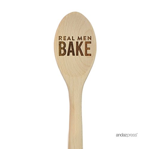 Andaz Press Laser Engraved Wooden Mixing Spoon, 12-inch, Real Men Bake, 1-Pack, Wood Father's Day Dad Grandpa Christmas Cooking Baking Gifts