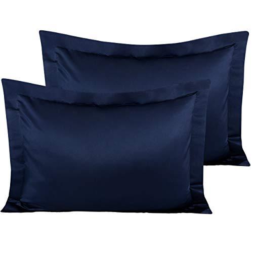 NTBAY Satin Pillow Shams, 2 Pcs Super Soft and Luxury Pillowcases, Navy Blue, Standard (Plum Pillow Shams)
