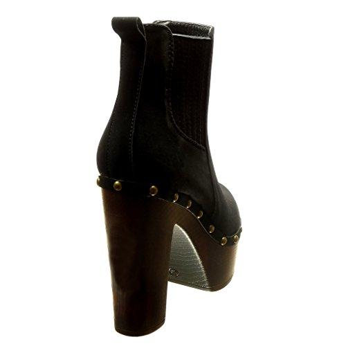 Angkorly - Zapatillas de Moda Botines chelsea boots zapatillas de plataforma altas mujer tachonado Talón Tacón ancho alto 11.5 CM - Negro
