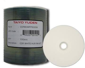 JVC (Taiyo Yuden) CDR White/Hub Printable Ink Jet/80Min 100 Pack