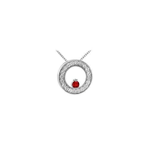 (Ruby and Diamond Circle Pendant 14K White Gold 1.00 CT TGW)