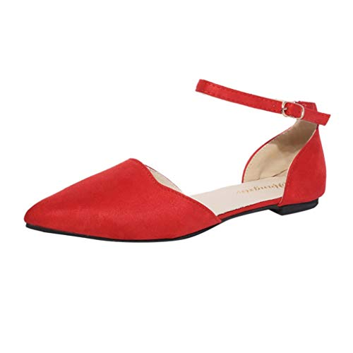 HHei_K Women Fashion Low Heel Pointed Toe Pumps Flat Shoes Buckle Strap Flock Sandals Casual Low Heels Shoes Red