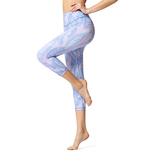 (QingJoy Women's 3/4 Yoga Capris Workout Pants High Waist Lightweight Running Leggings)