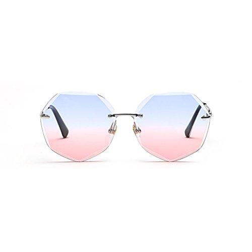 Soleil pink Gradual Femme Trend Lunettes Monture de sans Lunettes Polygonal Sunglasses Blue Moolo Soleil Change de xZBfwqXapC