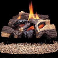 Glow Oak Log - Comfort Flame CRB3624NRA River Canyon Oak Vent-Free Ceramic Fiber Logs, 24-Inch