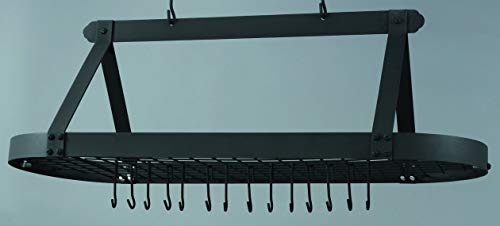 Old Dutch Oval Hanging Pot Rack with Grid & 24 Hooks, Graphite, 48 x 19 x 15.5