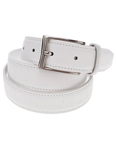 FLATSEVEN Mens Genuine Leather Crocodile Skin Embossed Silver Buckle Classic Belt (Y409), White
