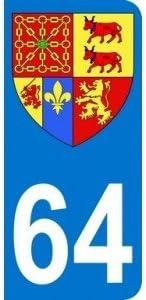 """Pegatina autoadhesiva del departamento """"64 Pyrénées Atlantiques"""" para matrícula de automóvil, 9,8 x 4,5 cm: Amazon.es: Coche y moto"""
