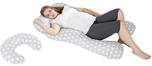 Lagerungskissen-, Relaxkissen-, Schwangerschaftskissen-Set multifunktional (Muster: getupftes Grau)