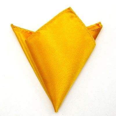 - Mens Satin Solid Plain Color Wedding Party Hanky Pocket Square Handkerchief NEW BWTYY0010 - (Color: Yellow)