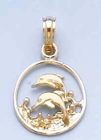 14k Yellow Fold Nautical Charm Pendant, Small Double Dolphins In Circle