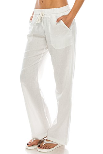 (Poplooks Women's Beachside Soft Palazzo Style Linen Pants (Small, White))