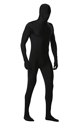 Skin Tight Male Costumes (Caringgarden Unisex Adult Lycra Spandex Zentai Unitard , One Piece Full Bodysuit , Skin Tights , Size L in Black)