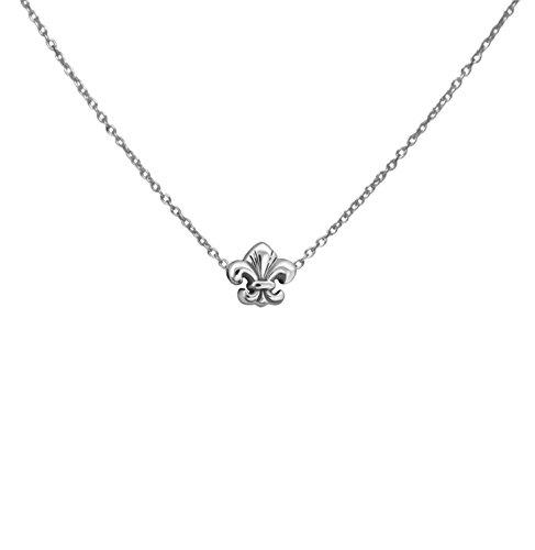 - Silver Fleur De Lis Flower Necklace
