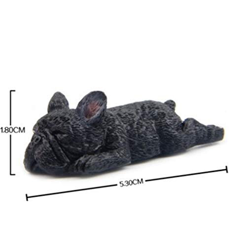(2'' Resin French Bulldog Figurine Cute Small Lying Dog Model Shiba Inu Dog Miniatures For Refrigerator Fridge Home Decor Black Dog Lying 2x0.7)