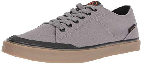 Volcom Mens LEEDS Canvas Vulcanized Skate Shoe, Neutral Grey, 12 D US