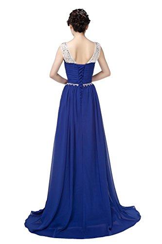 Blau Frauen Chiffon Ball engerla A Rückenfrei Gerüscht Line Pailletten Träger Sheer Kristall Kleid 67Cw7SxqRA