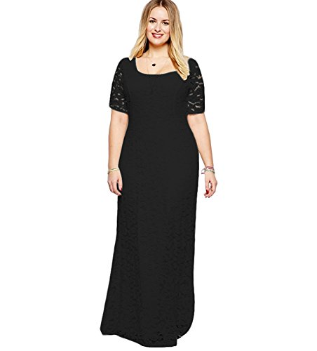 [Belace Women's Lace Party Dress Super  Black 4X] (Plus Size Evening Wear)