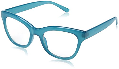 5 Greenwich Round Blue Light Blocking Computer Tablet Smartphone Screen Reading Glasses, Turquoise Frame, Diopter .0 ()