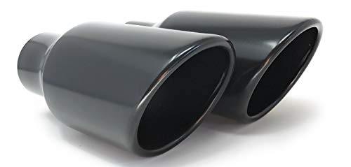 Black Powder Rolled Angle Cut Exhaust Tips 2.50