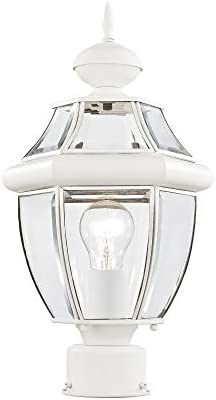Livex Lighting 2153-03 Outdoor Post with Clear Beveled Glass Shades, White