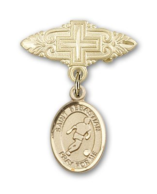 ReligiousObsession's 14K Gold Baby Badge with St. Sebastian/Soccer Charm and Badge Pin with Cross by Religious Obsession