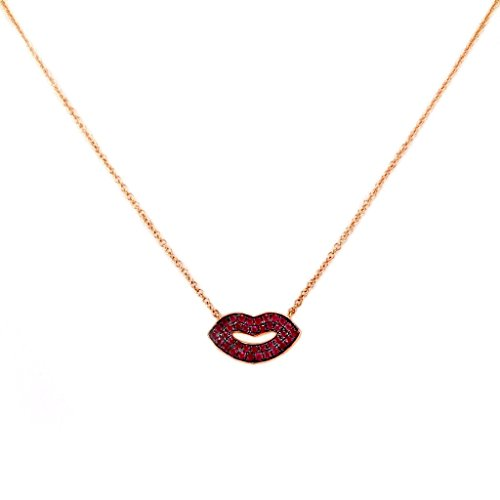 0.31ct Pavé Red Ruby in 14K Gold Sexy Lips Pendant Necklace (20, rose-gold) (Red Si3 Round Diamond)