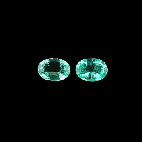Jaguar Gems – 2pcs AA Grade Natural Ethiopian Emerald Stone, Oval Brilliant Cut Crystals, DIY-Jewelry Making, Chakra Healing Stone