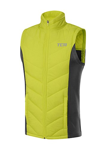 Thermal Running Jacket (TCA Men's Excel Runner Thermal Lightweight Running Vest/Bodywarmer with Zip Pockets - Lime Punch/Asphalt S)