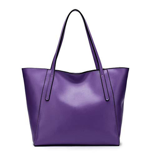 CHERRY CHICK Large Capacity Genuine Leather Tote Bag Purses Soft Hot(Dark Violet-9817)