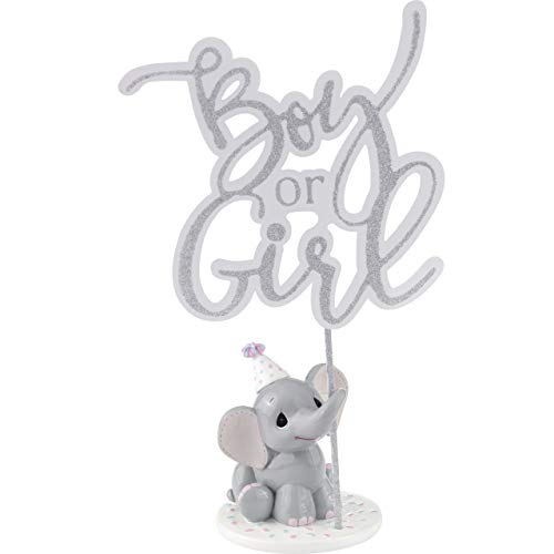 Precious Moments Elephant Gender Reveal Cake Topper Resin/Acrylic 183404 Figurine One Size Multi 4 Each ()