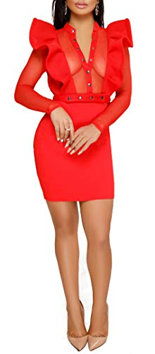 Chicmay Women Mesh Sheer Mini Dress - Gauze See Through Patchwork Ruffle Shoulder Bodycon Party Pencil -