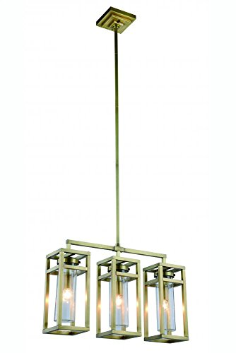 Bianca Collection Pendant Lamp L:26In. W:6In. H:65In. Lt:3 Burnished Brass