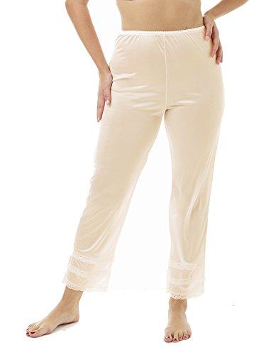 Underworks Nylon Ankle Length Beige Pantliner Pant Slip with Snip a Length Beige ()