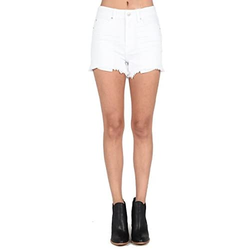 bfee6d9e2d318 Just USA Jeans Women's Zip up Extra High Rise Frayed Denim Short free  shipping