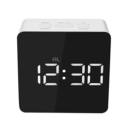 Succper Alarm Clock Radio with Wireless Bluetooth Speaker FM Radio Night Light LED Digital Display Sleep Timer with Snooze Function for Heavy Sleepers Home Bedroom Kitchen Kids (Best Alarm For Heavy Sleepers App)