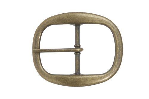 1 1/2 Inch Nickel Free Single Prong Oval Belt Buckle Color: Antique Brass ()