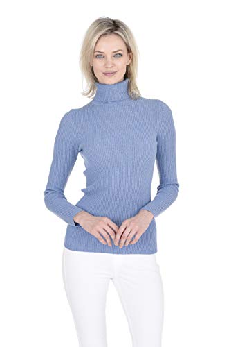 Cashmeren Women's 100% Pure Cashmere Classic Knit Soft Long Sleeve Ribbed Turtleneck Pullover Sweater (Baby Blue, Small)