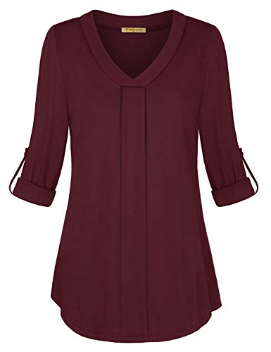 Striped Ruched V-neck Shirt - Baikea Henley Shirts for Women, Ladies Casual V Neck Cuffed Sleeves Solid Chiffon Blouse Top Simple Design Thin Jersey Knit Fit Nicely Classy Elegant Tunic Purplish Red M