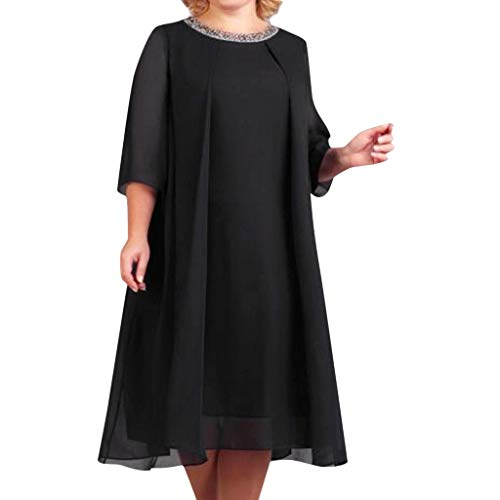 (Euone Dress, Woman Summer Casual Dress Collar Sequin Solid Night Party Dresses O-Neck Half Sleeve Formal Work Office Midi Sundress Plus Size Black)