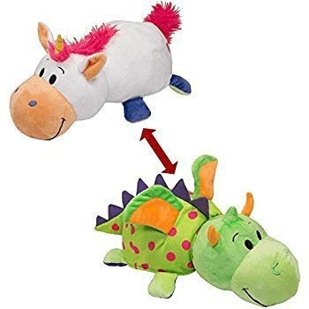 FlipaZoo The 16 Pillow with 2 Sides of Fun for Everyone - Each Huggable Character is Two Wonderful Collectibles in One (Unicorn / Dragon)