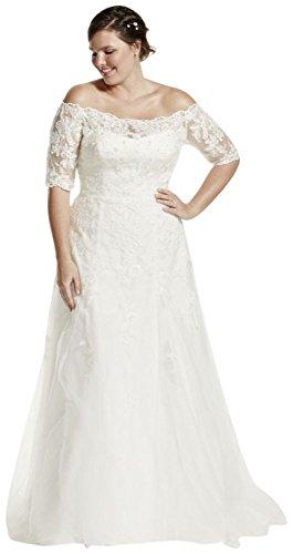Davids Bridal Jewel 34 Sleeve Plus Size Wedding Dress Style